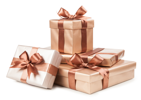Gold boxes with gifts and brown bow isolated on white. Stock fotó - 41606240