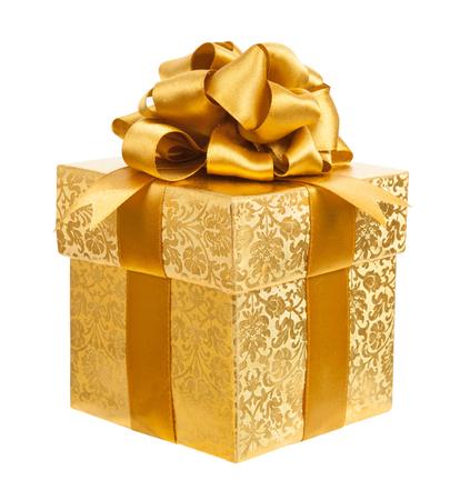 Casella dorata isolato su uno sfondo bianco Archivio Fotografico - 41603846