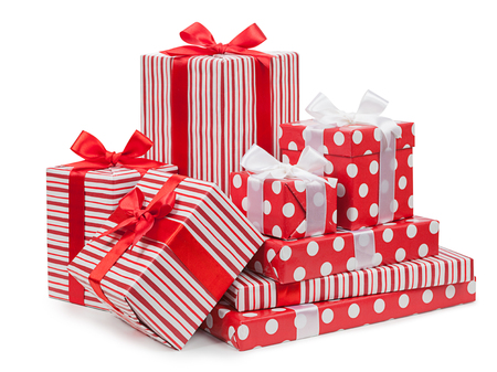 Striped boxes with a bow isolated on a white background