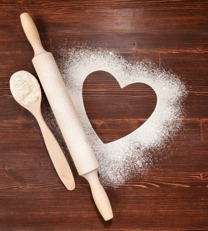 The heart of the flour on the table