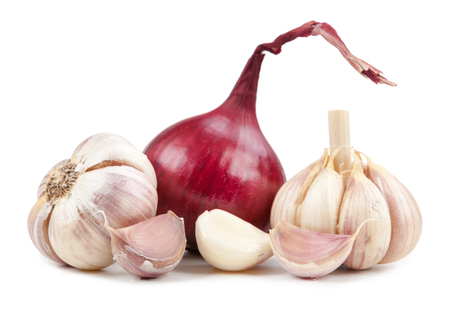 Onion end garlic isolated on white background Stock Photo