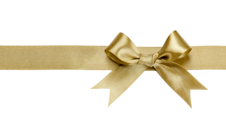 Gold ribbon with bow isolated on white background