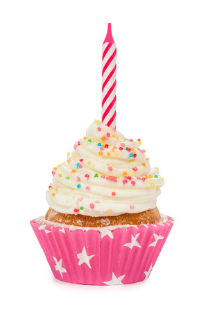 Birthday cupcake with a candle isolated on white.