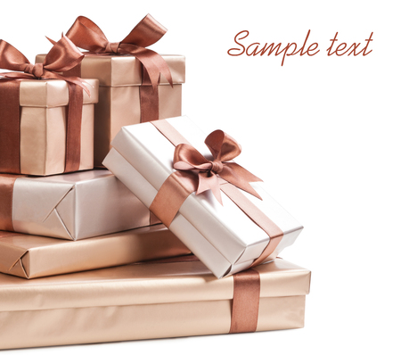 box with gifts and bow isolated