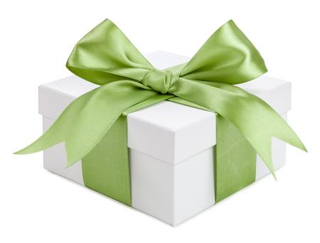 Contenitore di regalo bianco con fiocco verde isolato. Archivio Fotografico - 42872098