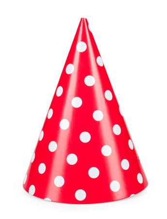 白地に赤いパーティー帽子 isilated。 写真素材