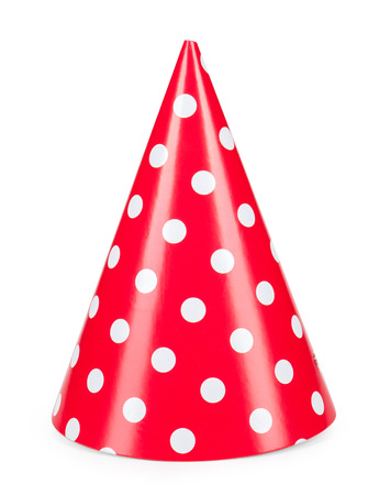 red party hat isilated on a white background. Zdjęcie Seryjne