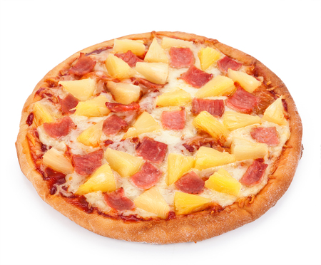 Hawaiian Pizza isolated on a white background. 版權商用圖片
