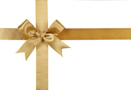Gouden lint met boog die op een witte achtergrond.