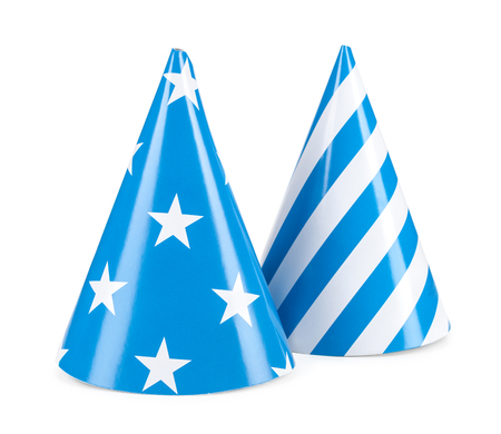 blue party hat isilated on a white background.