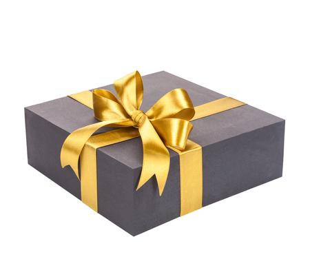 Contenitore di regalo nero con l'arco dell'oro. Archivio Fotografico - 43545402