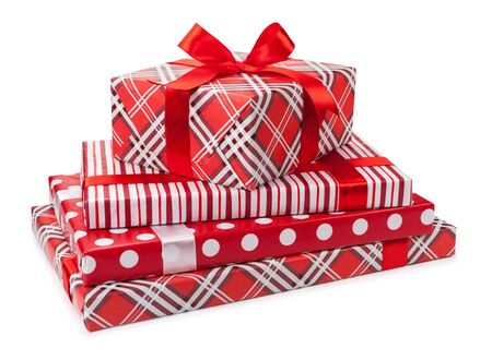Christmas gifts isolated on white background. Фото со стока
