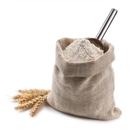 flour in a bag and spikelets isolated on white background. Stock Photo - 44170960