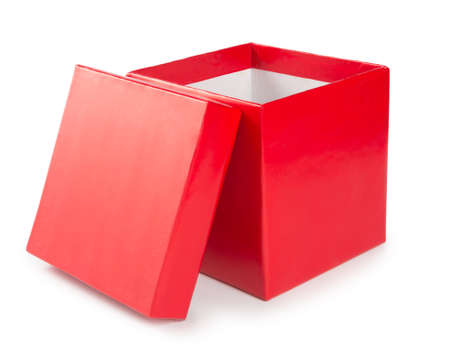 Open red gift box on white background.