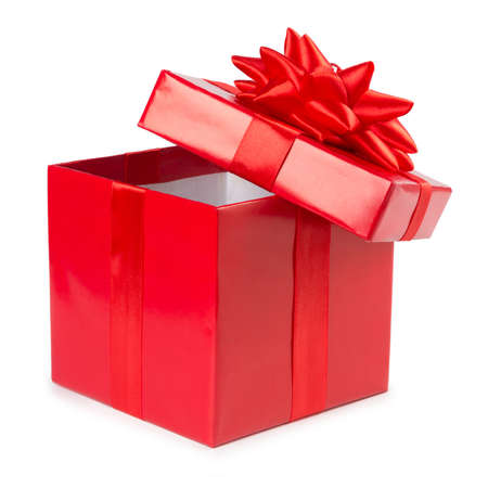 open red gift box with ribbon isolated on white background. Фото со стока