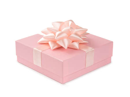 Pink gift with ribbon and bow isolated on white background.