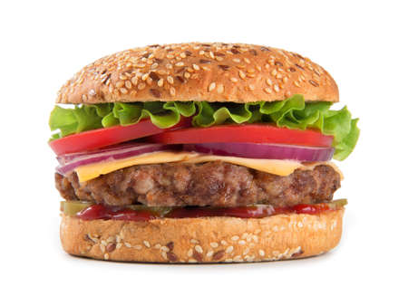 Fresh hamburger isolated on white background. food concept Фото со стока