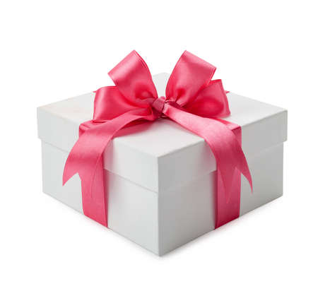 White gift box with pink bow isolated.