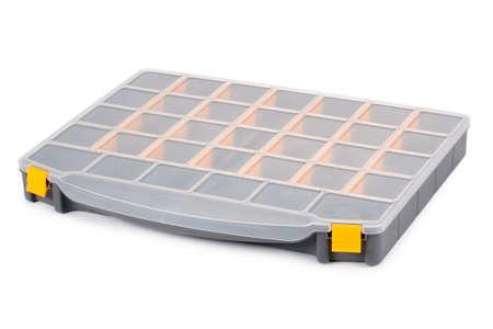 plastic box tool organizer isolated on white background.