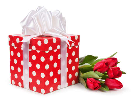 gift box and bouquet of tulips isolated on white.