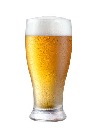 Glass of beer with cap isolated on white background.