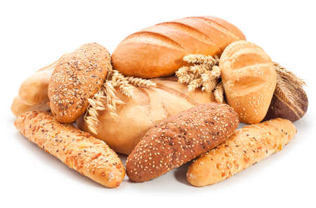 assorted breads isolated on a white background.