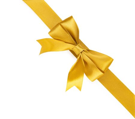 Golden ribbon with bow isolated on white background