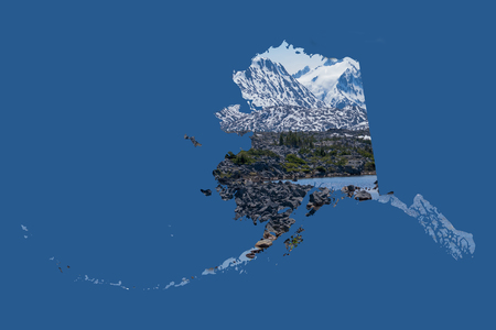 ample: Framed in a dark, blue background, a silhouette of Alaska is filled with a beautiful, scenic image of snow covered mountains, rugged terrain,  and a beautiful lake. Ample room for text  copy.