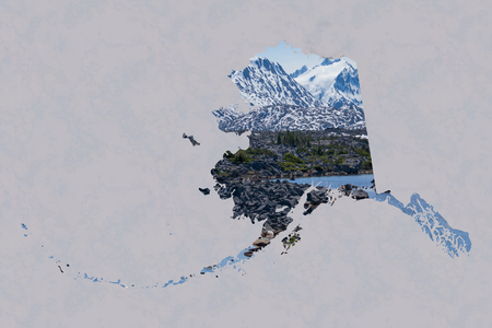 ample: Framed in a soft  background, a silhouette of Alaska is filled with a beautiful, scenic image of snow covered mountains, rugged terrain,  and a beautiful lake. Ample room for text  copy.