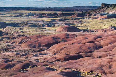 here's: Heres a beautiful view looking westward at the rolling terrain found in the Petrified National Forrest Park, Arizona. Stock Photo