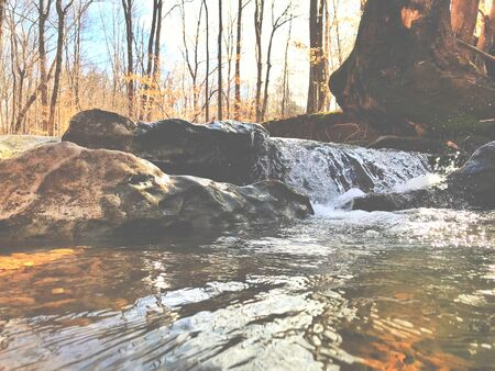 Beautiful waterfall and stream in the woods Stock Photo