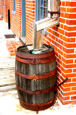Rustic Old Rain Barrel