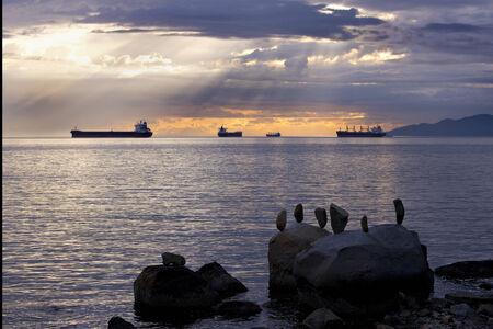 Ships on English Bay, Vancouver, BC Banco de Imagens