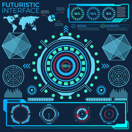 Abstract future, concept vector futuristic interface. Communications map of the world Vektorové ilustrace