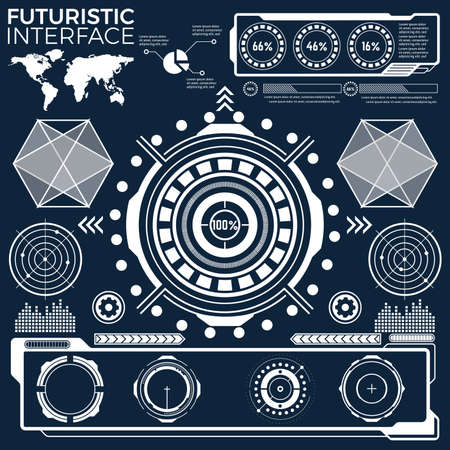 set of black and white infographic elements. Head-up display elements for the web and app. Futuristic user interface. Virtual graphic. Vektorové ilustrace