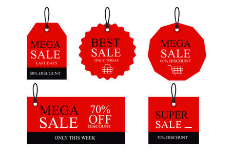 Discount paper tag labels set vector Vektorové ilustrace