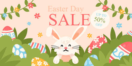 Happy Easter sales banner flat template. Pascha discount flyer design with cartoon kawaii character. Winking bunny with eggs on green grass. Printable postcard, holiday invitation, horizontal poster