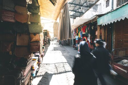 Souks of Rabat with Leather Goods - Morocco