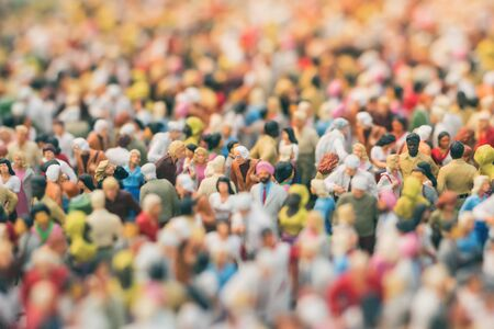 Colorful miniature crowd. Multiracial gathering of people.