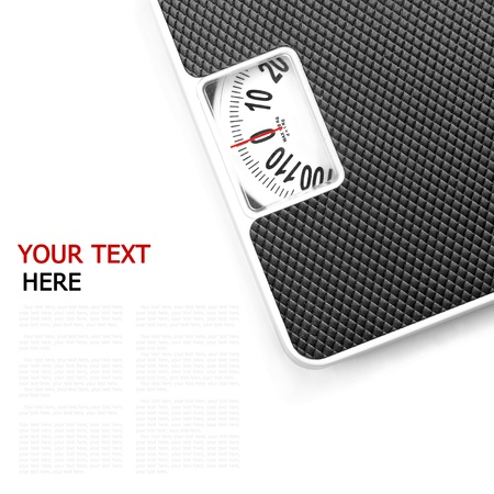 weighing scale: Scales on white background (with sample text)