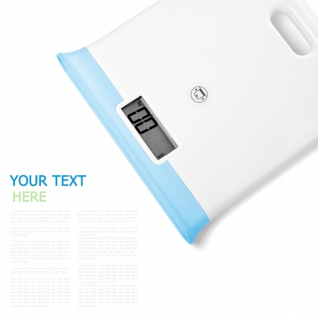 Digital scales on white background (with sample text) Reklamní fotografie