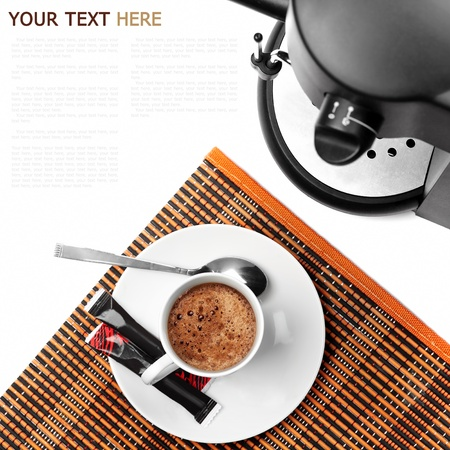coffee maker and coffee ready on a white background (with sample text) photo