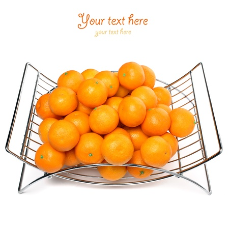 Metal fruit basket on a white background photo