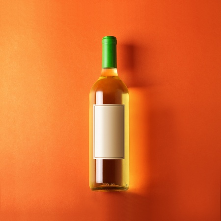 aligote: bottle of white wine, orange background