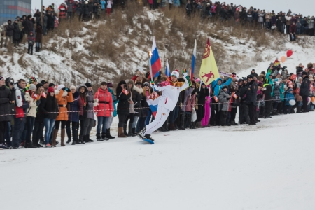 olympiad: Novosibirsk, Russia - December 7, Adults and children awaiting the Olympic torch relay in Novosibirsk