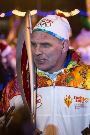 Passing the torch relay, in Novosibirsk, Russia
