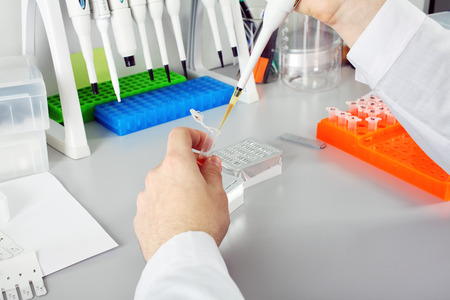 laboratory technician: Scientist with dropper working  at the laboratory in work