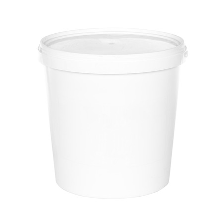 White plastic bucket with lid on a white background
