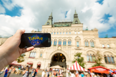 Russia, Moscow, Red Square - August 22: 2016 Editorial image: Smartphone with Pokemon Go application. An Android user plays Pokemon Go, a augmented reality mobile game developed by Niantic for phone