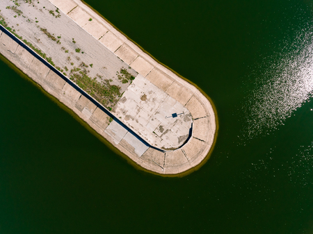 groyne: Aerial view of breakwater at sea, mole, pier, cutwater Stock Photo